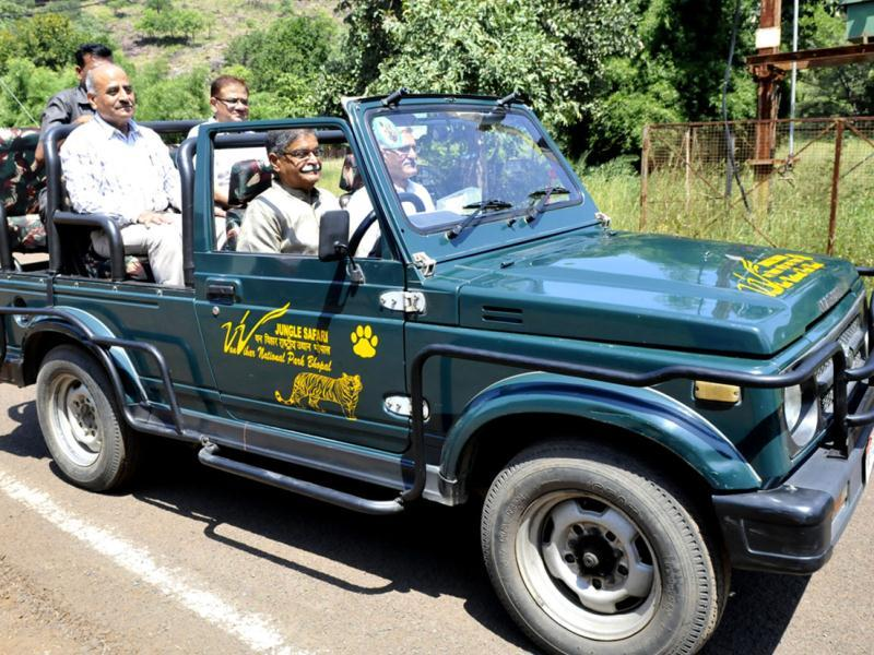 Forest minister Gauri Shankar Shejwar drives a jungle safari vehicle after its inauguration at Van Vihar National Park, in Bhopal on Wednesday. (Mujeeb Faruqui/HT)