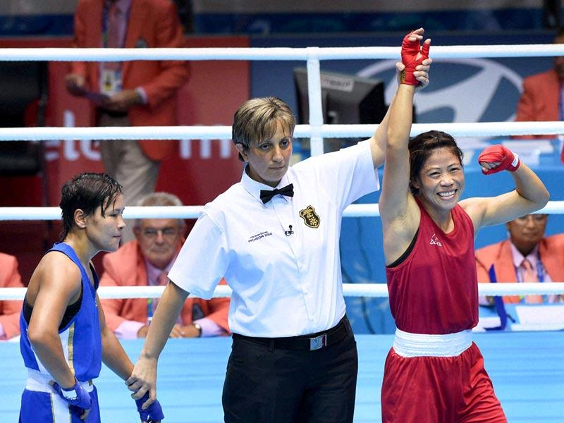 Mary Kom is declared winner in the final bout of women's flyweight boxing at the Asian Games in Incheon. (PTI Photo)