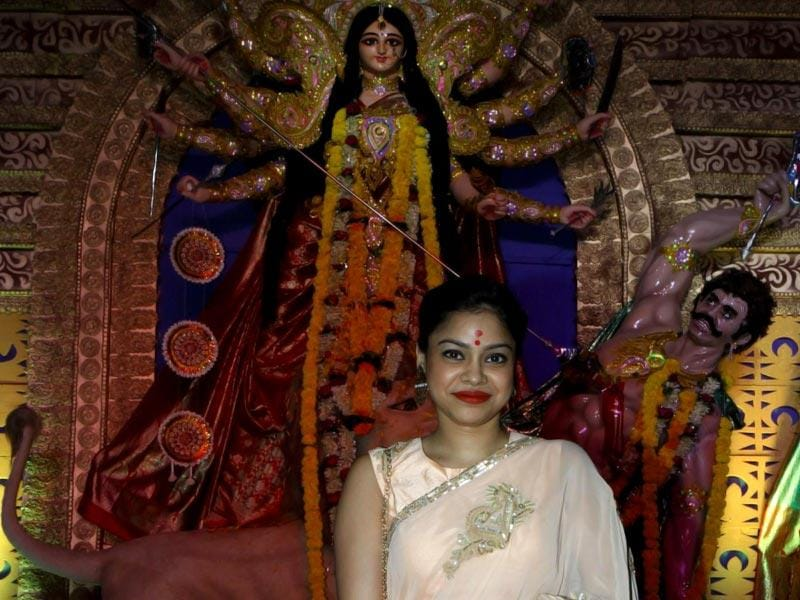 Television actor Sumona Chakravarty during the Durga pooja celebration in Mumbai. (Photo: IANS)