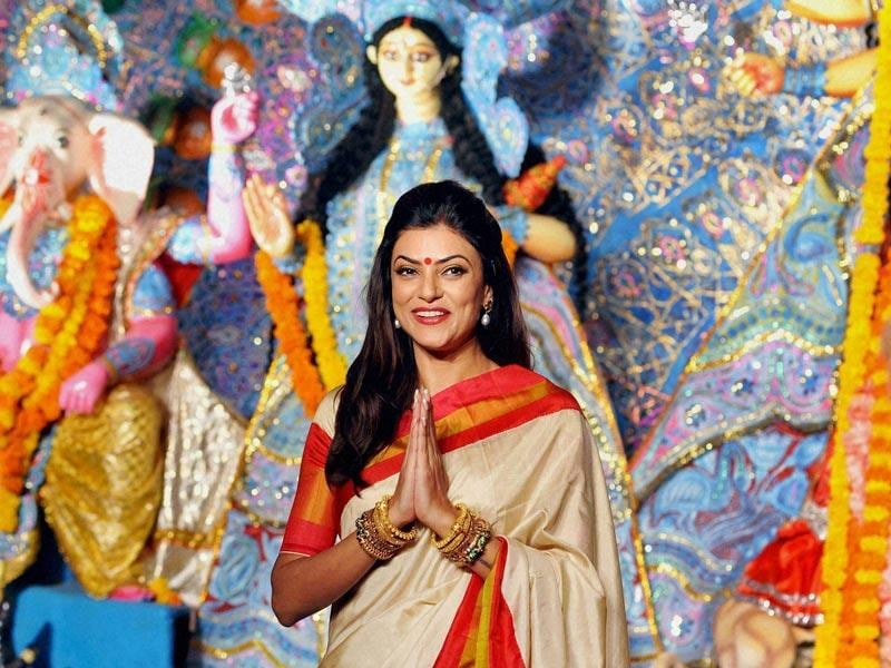 Every year around Durga Puja, our favourite B-Town celebs step out of their LBDs to step into traditional avatars. This year we caught a few of them pandal-hopping. Take a look! Sushmita Sen dazzles in a Bengali-style saree in Mumbai. (Photo: PTI)