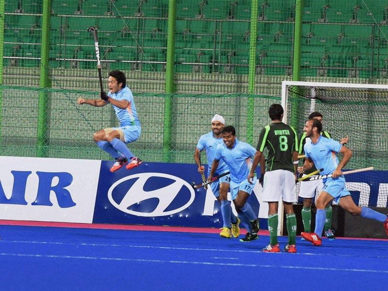 Indian players celebrate after scoring a goal against Pakistan in the final match of men's hockey at the 17th Asian Games in Incheon, South Korea on Thursday. (PTI Photo)