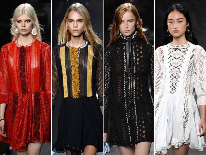 Nicolas Ghesquière returned to the 70s at Louis Vuitton: The looks were still preppy and 70s-inspired at Louis Vuitton, a style the label has taken on since Nicolas Ghesquière's arrival last season. The dresses were short, the skirts A-line and the pants cropped. In terms of materials, there were knits, along with plenty of leather and velvet. These rich textures were combined with a hint of denim, one of the star fabrics of next spring. Sequins also took some of the spotlight, entirely covering certain dresses and tops. While most of the pieces were solid (blue, black, white, red), some were striped and a few had a whimsical print with everyday objects over a white background. There were also 70s-inspired prints, seen mostly on velvet pieces.