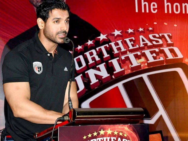Actor and Co-Owner of Northeast United Football Club John, Abraham during the inaugural ceremony of the team Jersey, near Jalukbari in Guwahati on Saturday. ISL begins on 12 October. (PTI Photo)