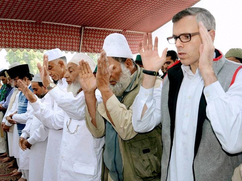 Jammu and Kashmir chief minister Omar Abdullah during Eid al-Adha prayers at Hazratbal Shrine in Srinagar. (PTI photo)