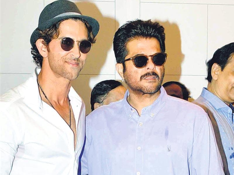 Hrithik Roshan and Anil Kapoor at the inauguration of a hospital in Mumbai. (HT photo)