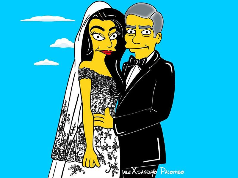 Italian artist Alexsando Palombo has recreated these faboulous pictures from the wedding of Amal Alamuddin and George Clooney. He has chosen to give the newly-wed couple a Simpson-y twist. Check these out... (All cartoons- humorchic.blogspot.in), (Amal/Clooney pics-Agencies)