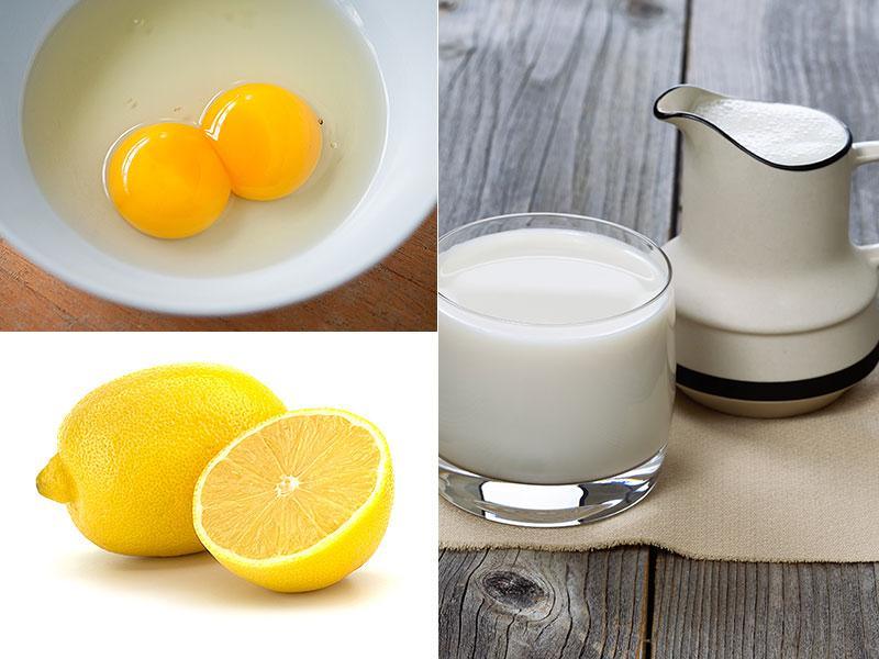Egg yolk and milk hair mask: Take the yolk of one egg, mix a cup of milk, squeeze in a little lemon, preferably one spoon. Massage your roots with the mixture, leave it for 15 mins and then wash it off with lukewarm water.