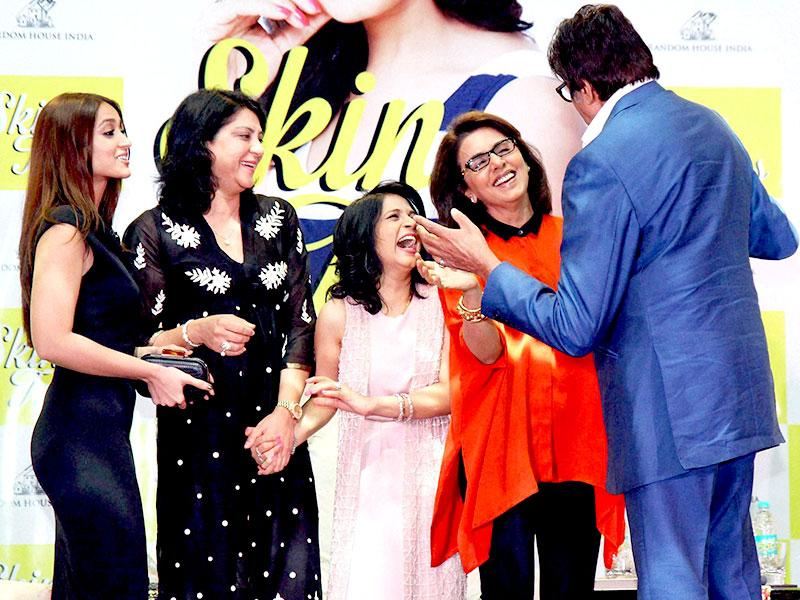 Actors Amitabh Bachchan, Neetu Singh, Ileana D'Cruz and Congress leader Priya Dutt with Dr Jaishree Sharad during the launch of her book, Skin Talk in Mumbai on Sunday. (PTI)