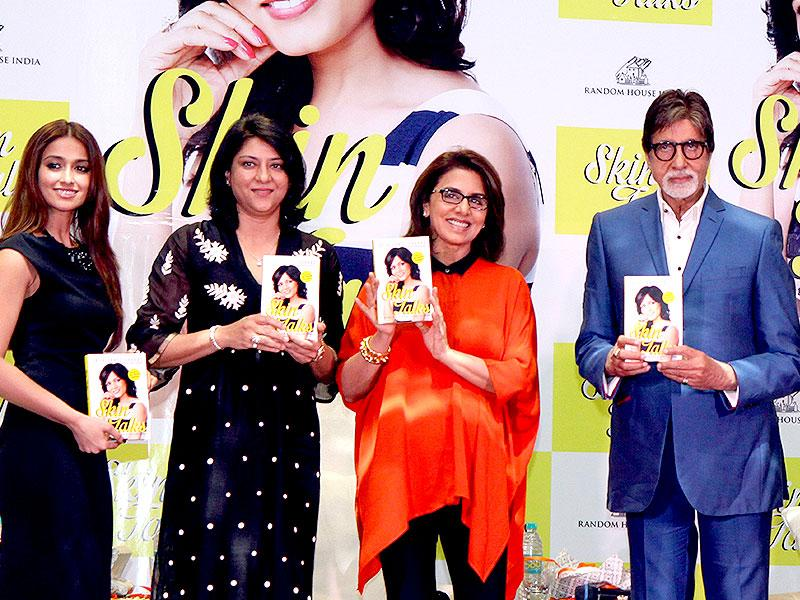Actor Ileana D'Cruz (L), politician Priya Dutt (second left), actors Neetu Singh (centre) and Amitabh Bachchan (third right) and Dr. Jaishree Sharad (second left) pose for a photograph launch of Dr. Sharad's book, Skin Talk in Mumbai on late October 5, 2014. (AFP)