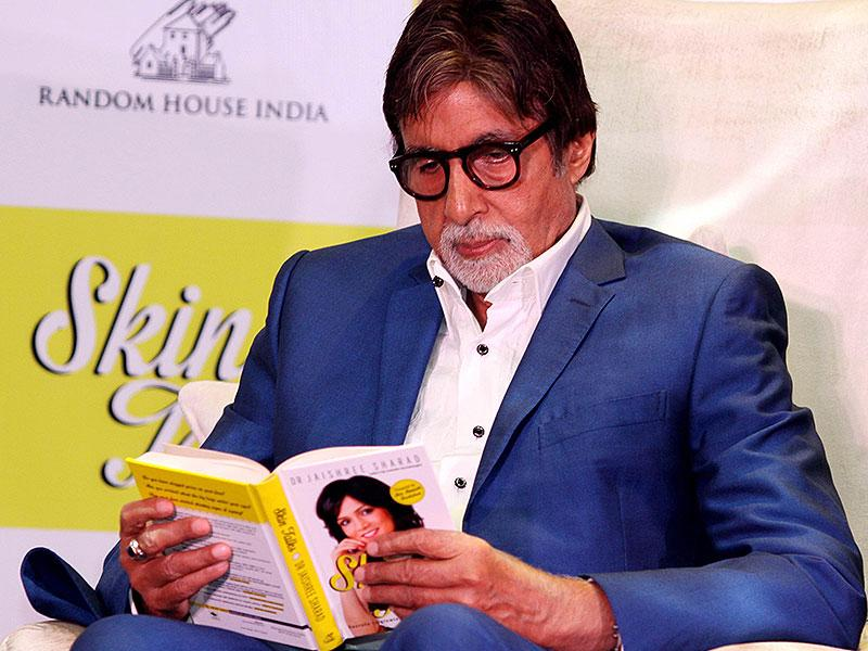 Actor Amitabh Bachchan looks on during the launch of Dr. Jaishree Sharad's book, Skin Talk in Mumbai on late October 5, 2014. (AFP)