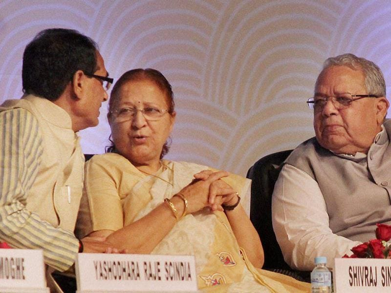 Union minister for MSMEs Kalraj Mishra with Lok Sabha Speaker Sumitra Mahajan and MP chief minister Shivraj Singh Chouhan at the Global Investors Summit in Indore. (PTI photo)