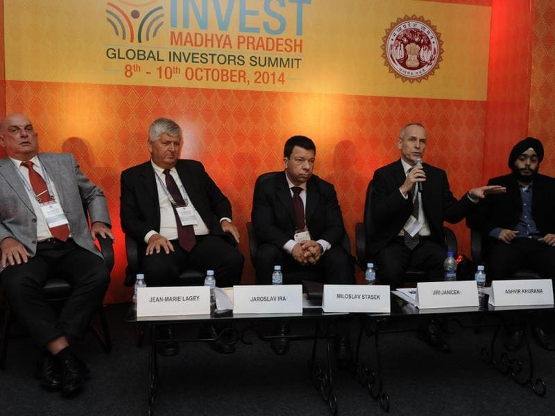 Jiri Janicek from trade department of Czech Republic (second from right) interacts with the audience at Global Investors Summit in Indore. (Arun Mondhe/ HT photo)