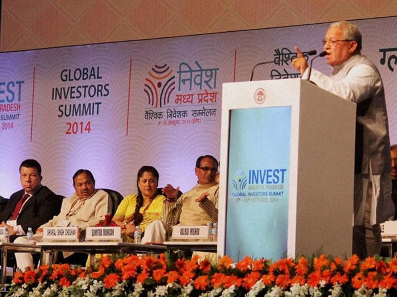 Union minister for MSMEs Kalraj Mishra addresses the gathering at Global Investors Summit in Indore on Wednesday. (PTI photo)