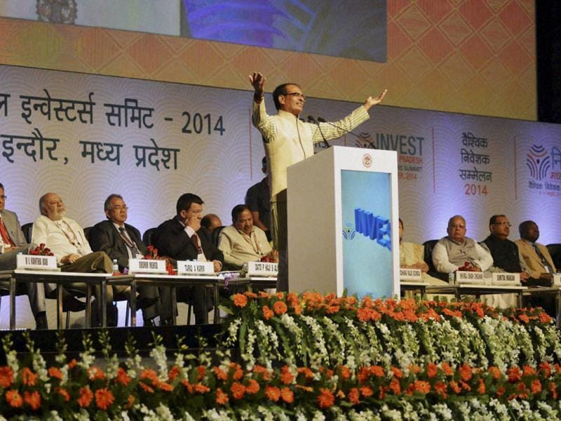 Madhya Pradesh CM Shivraj Singh Chouhan addresses the audience at Global Investors Summit in Indore. (PTI photo)