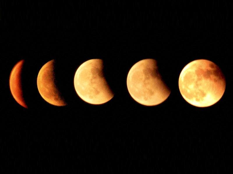 Different phases of moon during lunar eclipse in Dibrugarh, Assam on Wednesday. (PTI Photo)