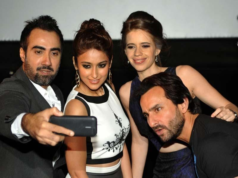 The cast of Happy Ending was seen in Mumbai on the occasion of the film's trailer launch. (AFP Photo)