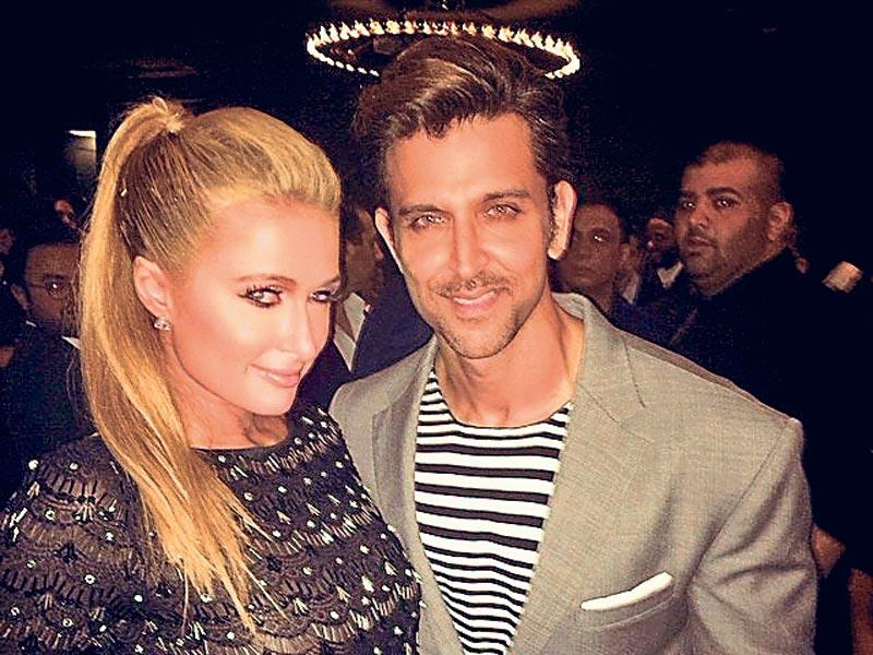 "Bollywood actor Hrithik Roshan was spotted with American ­socialite Paris Hilton (left) recently. The two attended the VIP launch of a restaurant by celebrity chef Greg Malouf. Paris posted a picture with Hrithik on her Facebook page and captioned it as, ""#GoodTimes at @CleDubai with Hrithik Roshan. Such a beautiful restaurant, my new favorite hot spot in Dubai."""