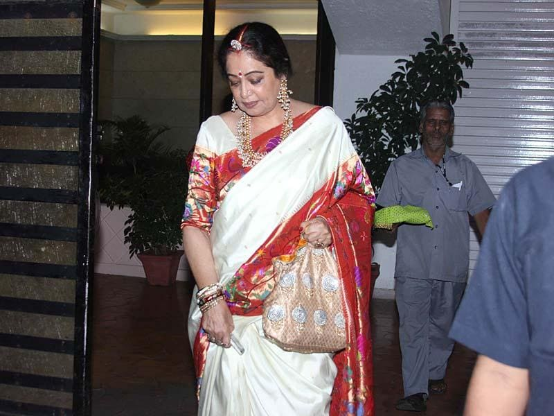 Actor Kirron Kher during the Karva Chauth celebration in Mumbai, on October 11, 2014. (Photo: IANS)