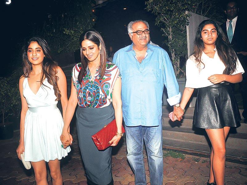 Sridevi and Boney Kapoor were spotted in Juhu with their daughters, Jhanvi and Khushi (Photo: Viral Bhayani)