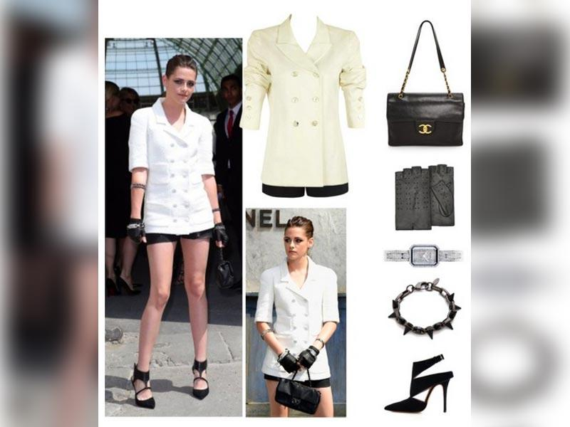 Sharp touches: Chanel jacket, watch and bag, Forever New shorts, Joomi Lim bracelet, Forzieri gloves, Jean-Michael Cazabat shoes