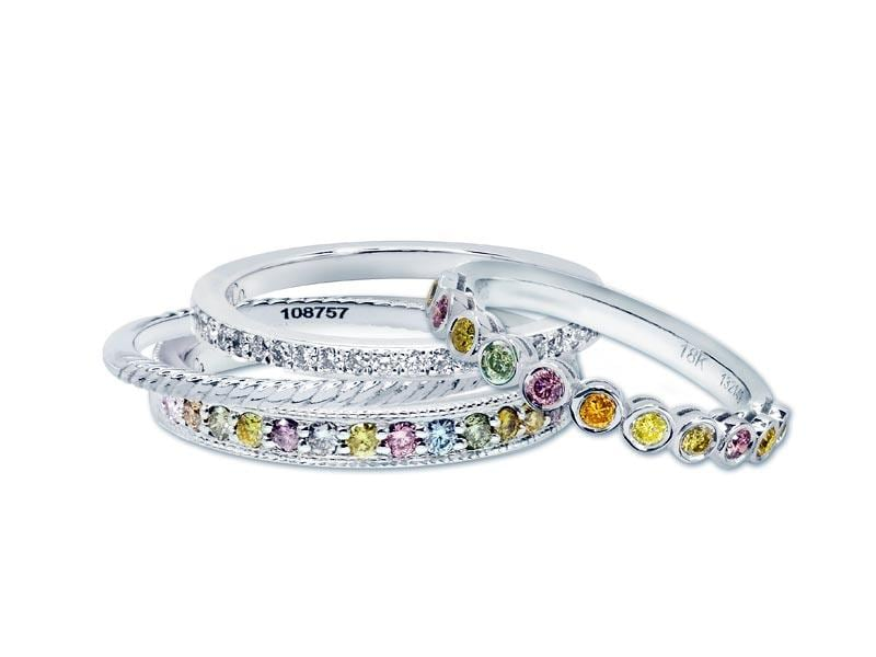 Multicolour diamond milgrain band ring in 18ct white gold with 100 per cent natural coloured diamonds of various intensities. Available from Leibish & Co. Price on request