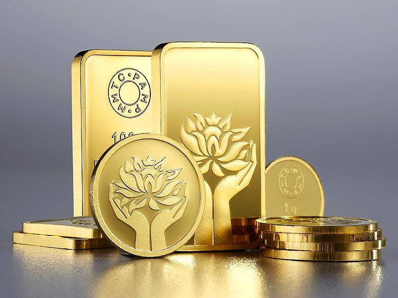 MMTC-PAMP India offers gold and silver coins, ingots and pendants. Etched with designs of two hands holding a lotus flower and the images of Lakshmi and Ganesha. Available with MMTC-PAMP retailers. Price on request