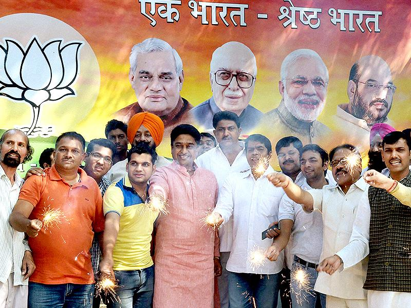 BJP supporters celebrating the party's victory in Haryana and Maharashtra assembly elections, in New Delhi on Sunday. (PTI Photo)