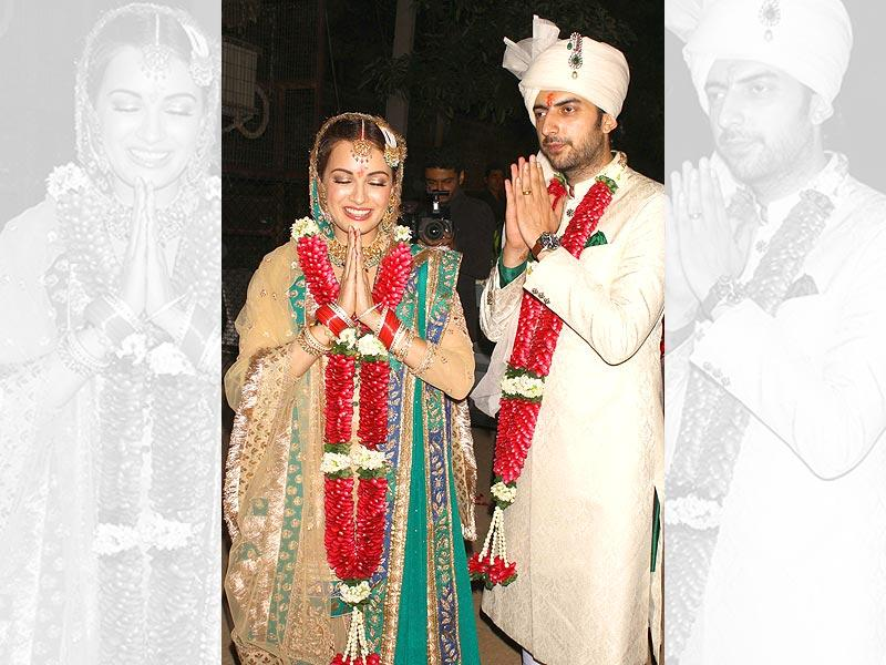 Actor Dia Mirza weds Sahil Sangha in New Delhi on Oct. 18, 2014. (Photo: IANS)