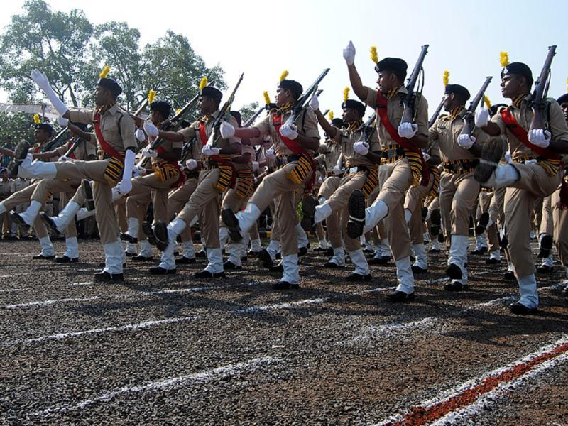 Newly recruited jawans of MP Police participate in passing out parade at PTS Ground in Indore on Monday. (Arun Mondhe/HT photo)