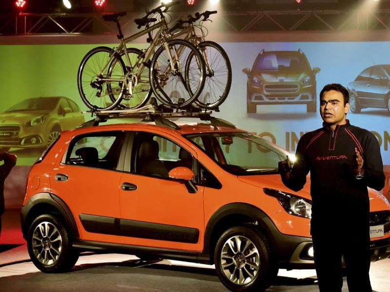 Nagesh A. Basavanhalli, President and Managing Director, Fiat Chrysler Automobiles India, speaks about the features of Fiat's Avventura at its World launch in New Delhi on Tuesday. Photo:PTI