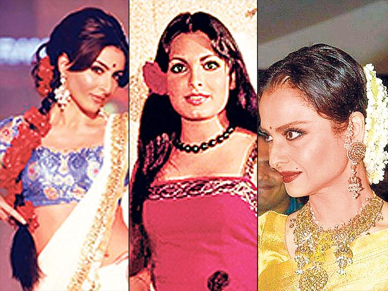 Style it like a divaWhile veteran actor Rekha is well known for her hairstyles with oh-so-fresh jasmine gajras, Or you could channel some retro glam ala Parveen Babi by pinning up an oversized flower behind your hair on one side, leaving your tresses open. Long haired gals, take cue from actor Soha Ali Khan to deck up your braid with red roses.