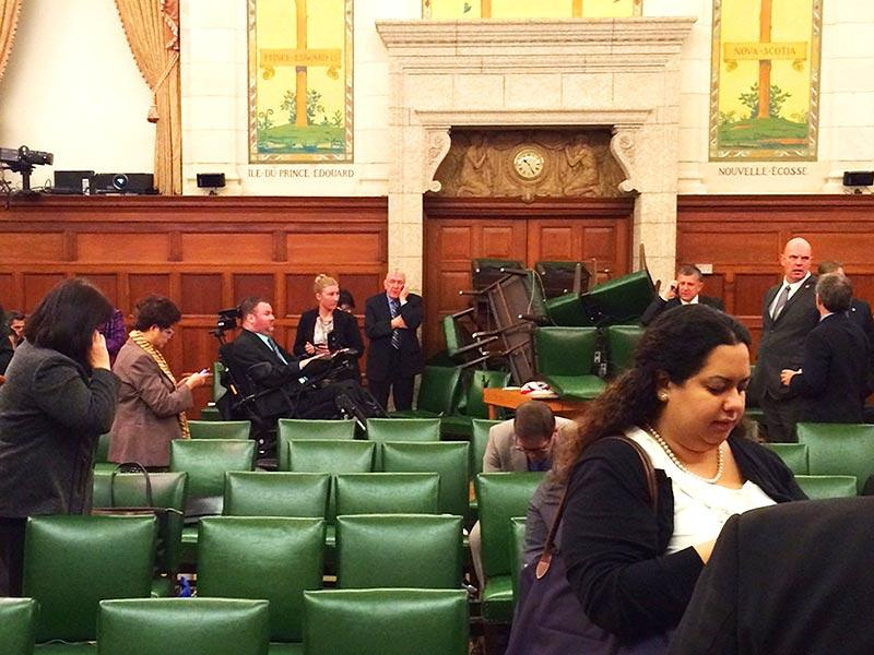 The Conservative Party caucus room shortly after shooting began on Parliament Hill, Ottawa. (Reuters)