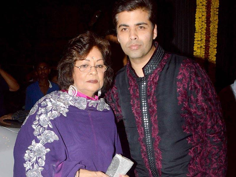 Karan Johar with mother Hiroo at the Bachchans' bash. (Yogen Shah, HT Photo)