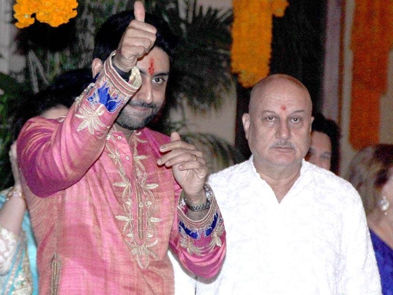 Abhishek Bachchan and Anupam Kher together at Bachchan's Diwali party. (Yogen Shah, HT Photo)