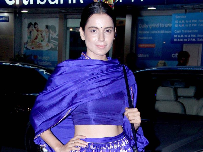 Kangana Ranaut elegantly dressed at Big B's Diwali bash (Yogen Shah, HT Photo)
