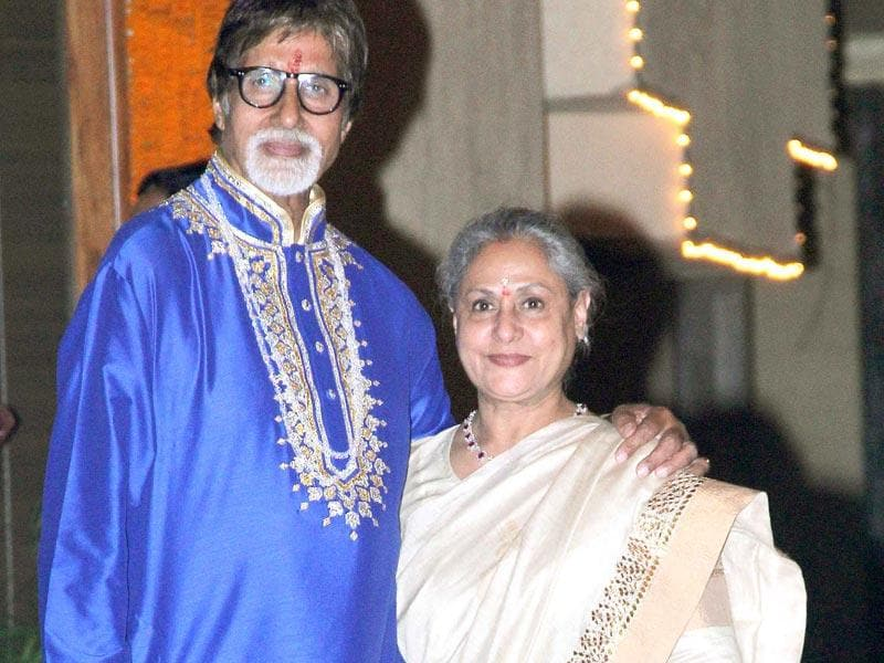 Hosts Amitabh Bachchan and Jaya Bachchan together at their star-filled Diwali party (Yogen Shah, HT Photo)