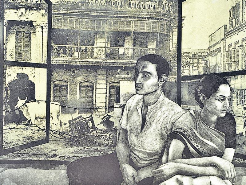 Anupam Sud 'Dialogue-I' etching on paper.