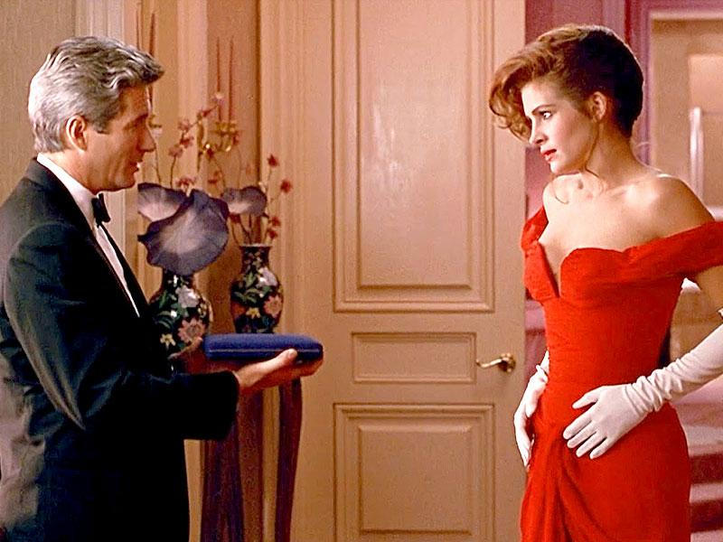 Julia Roberts in that famous red dress from Pretty Woman which launched a million fashion styles.