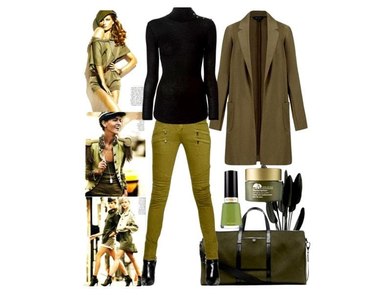 Autumn tones: New Look coat, Balmain jeans and top, Michael Kors bag.
