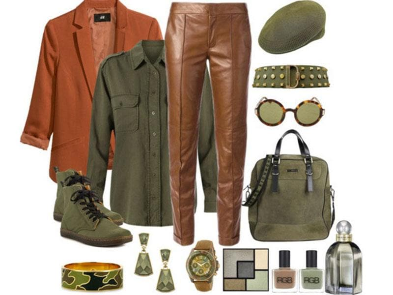 Khaki is a great color for transitioning between seasons- the tone is neutral enough to be paired with a range of other hues from dark greys and blacks to lighter, brighter shades. Cool and leafy, tough yet chic, separates in khaki are a key element in the urban fashion fan's wardrobe. Here are a few favourite pieces. (Photos: AFP) Nature's palette: Mango shirt, Dr. Martens shoes, Richmond bag, Kangol hat, H&M jacket, Luxury Divas belt, earrings via maxandchloe.com, Gucci pants, C. Wonder bracelet, Isaac Mizrahi watch, The Row sunglasses.
