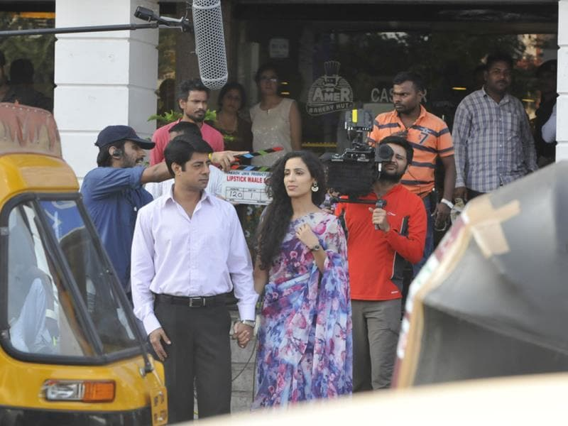 The shooting of Bollywood movie 'Lipstick Wale Sapne' has started in Bhopal. Some scenes of the film were shot on Tuesday. (Mujeeb Faruqui/HT photo)