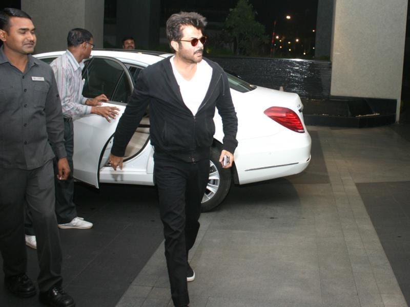 Bollywood actor Anil Kapoor arrives in Bhopal on Tuesday to attend a private function. (Mujeeb Faruqui/HT photo)