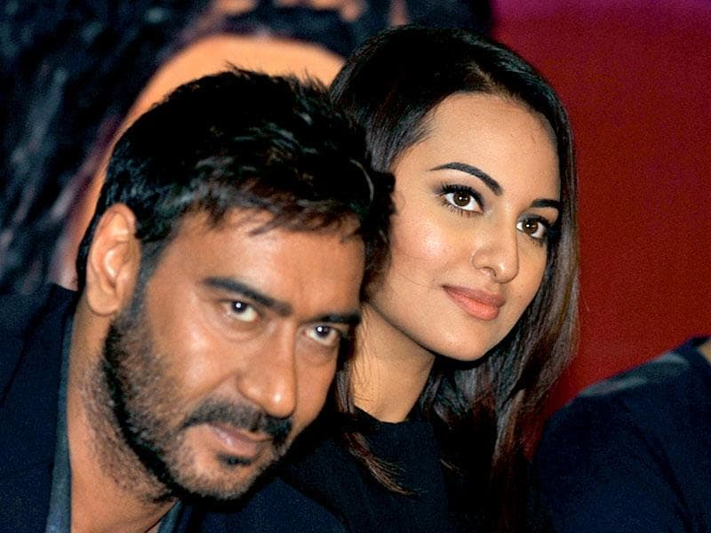 Ajay Devgn and Sonakshi Sinha attend a promotional event for Action Jackson. (AFP Photo)