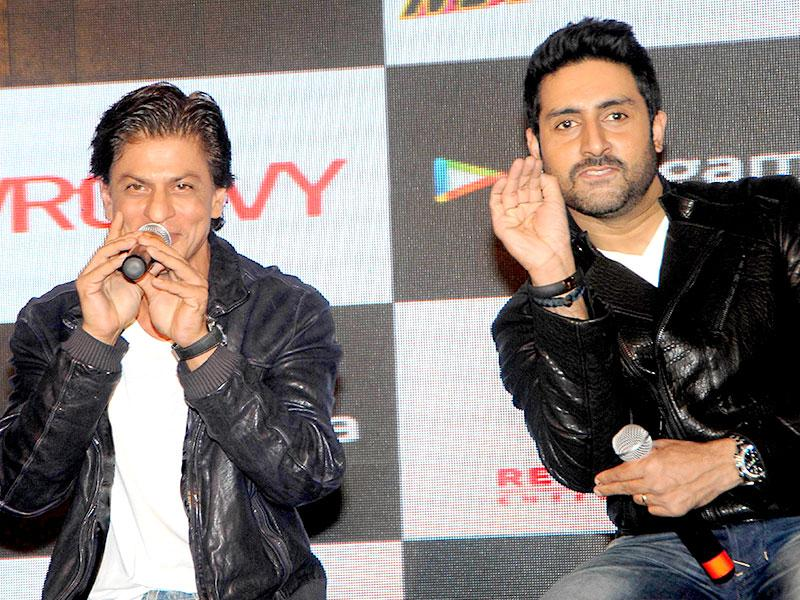 Shah Rukh Khan and Abhishek Bachchan attend a promotional event for the mobile game of Hindi film