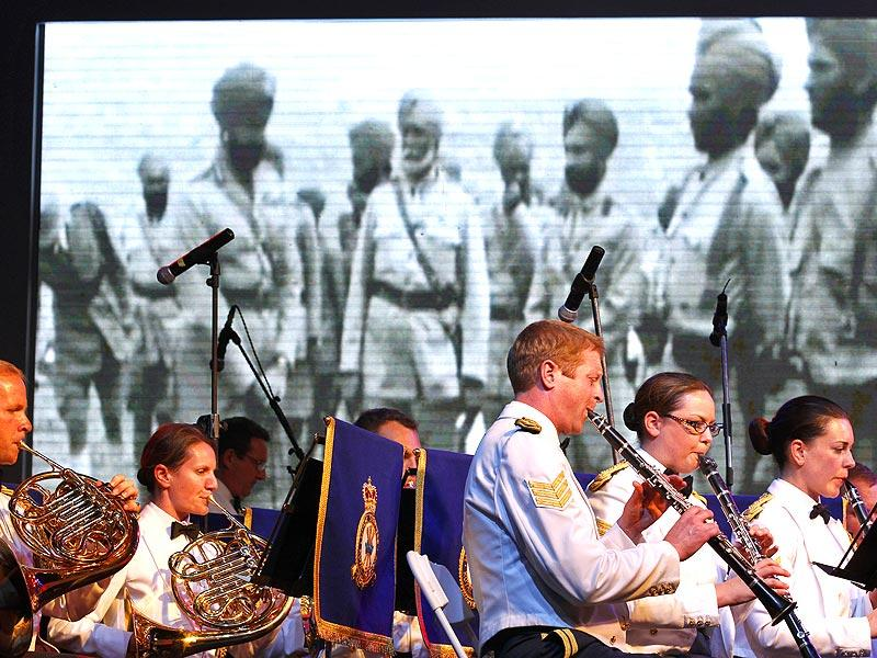 The Royal Air Force Band performing during the First World War Centenary Commemoration at British High Commissioner residence in New Delhi. (Virendra Singh Gosain/HT Photo)