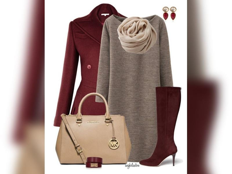 Mulled wine: Team a brown woollen dress with a wine coloured overcoat and boots. Add a beige handbag to your ensemble and you are ready to go. (Photos: AFP)