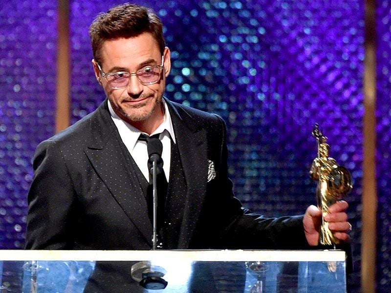 Honoree Robert Downey Jr. accepts the Stanley Kubrick Britannia Award for Excellence in Film onstage during the BAFTA Los Angeles Jaguar Britannia Awards presented by BBC America and United Airlines at The Beverly Hilton Hotel on October 30, 2014 in Beverly Hills, California. (AFP)