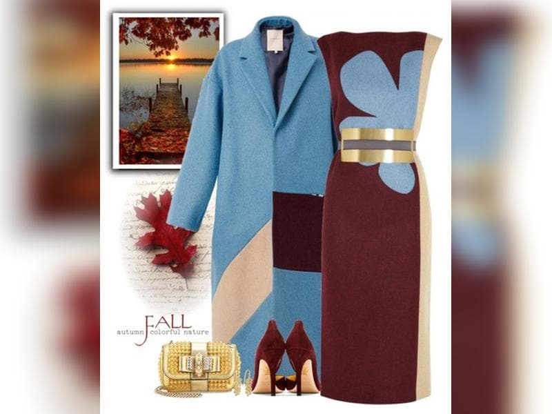 Eye-catching pair: Let go of the grey's and black's this winter. For an evening out, team a maroon dress with a soft blue overcoat.