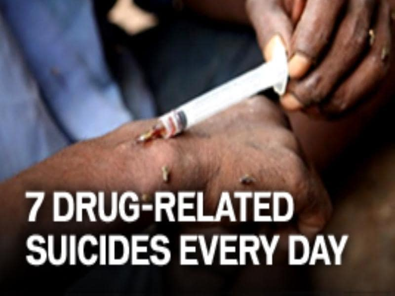Seven drug related suicides everyday