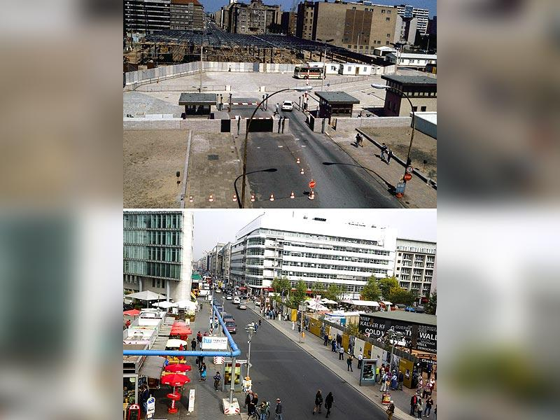The combo shows construction work at the Berlin Wall on Aug 13, 1985 on Friedrichstrasse near checkpoint Charlie and Friedrichstrasse Oct 2, 2014 - 25 years after the fall of the wall. (AP Photo)
